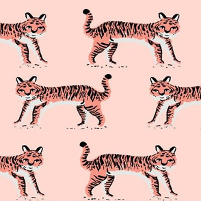 tiger fabric // tigers animals safari fabric - blush