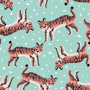 tigers fabric // tiger animal safari fabric andrea lauren - blue