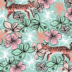 tropical tigers fabric // hibiscus palms palm plants summer print by andrea lauren - blush and blue