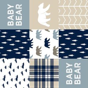 baby bear patchwork quilt top (90)    tan chevron