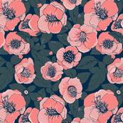 peach pink  Floral / Camellia Garden
