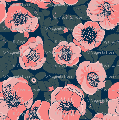 Coral Flowers //Summer Floral //    Camellia floral
