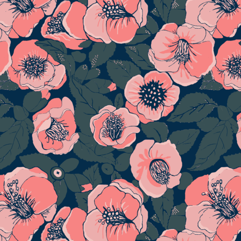 Coral Flowers //Summer Floral //    Camellia floral fabric by magentarosedesigns on Spoonflower - custom fabric