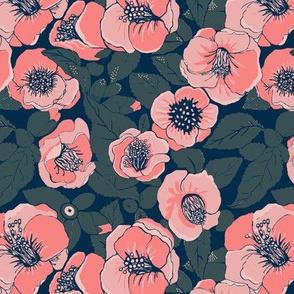 Peach Flowers //Summer Floral //    Camellia floral