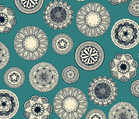 mandala cirque spot teal fabric by scrummy on Spoonflower - custom fabric