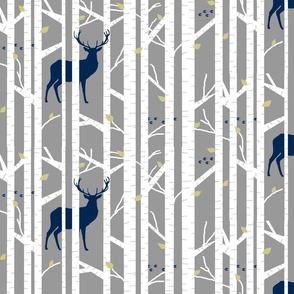 walk in the woods // indigo, grey & mustard