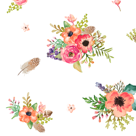 """9"""" Floral Deer Floral  fabric by shopcabin on Spoonflower - custom fabric"""