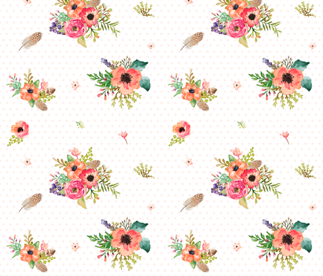 """10.5"""" Floral Deer Floral / Pink Polka Dots fabric by shopcabin on Spoonflower - custom fabric"""