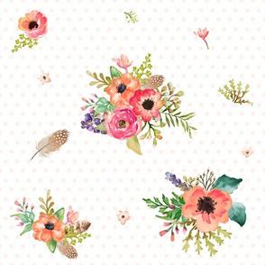 """10.5"""" Floral Deer Floral / Pink Polka Dots"""