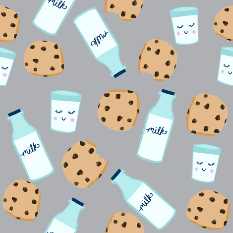 milk and cookies baby fabric cute food nursery design grey fabric by charlottewinter on Spoonflower - custom fabric