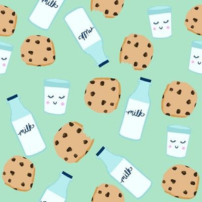 milk and cookies baby fabric cute food nursery design mint