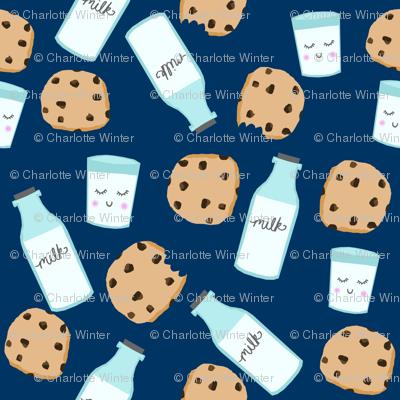 milk and cookies baby fabric cute food nursery design navy