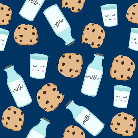 milk and cookies baby fabric cute food nursery design navy fabric by charlottewinter on Spoonflower - custom fabric
