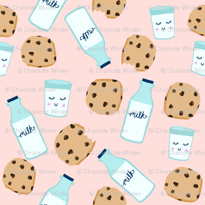 milk and cookies baby fabric cute food nursery design pink