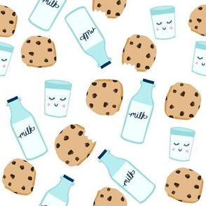 milk and cookies baby fabric cute food nursery design white
