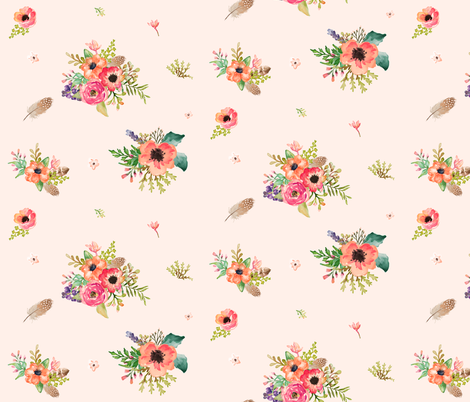"""9"""" Floral Deer Floral / Pink fabric by shopcabin on Spoonflower - custom fabric"""