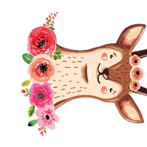 Floral Deer Quilt Top