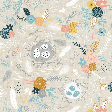 Feathers + Flowers (fawn) SMALL fabric by nouveau_bohemian on Spoonflower - custom fabric