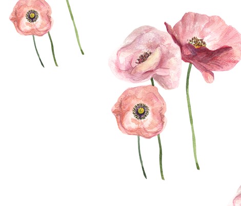Seamless pattern with pink tender poppies fabric by nadiia_nemchenko on Spoonflower - custom fabric