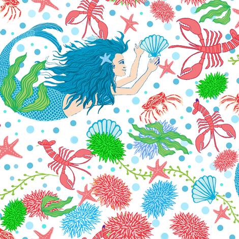 mermaids ocean life fabric by magentarosedesigns on Spoonflower - custom fabric