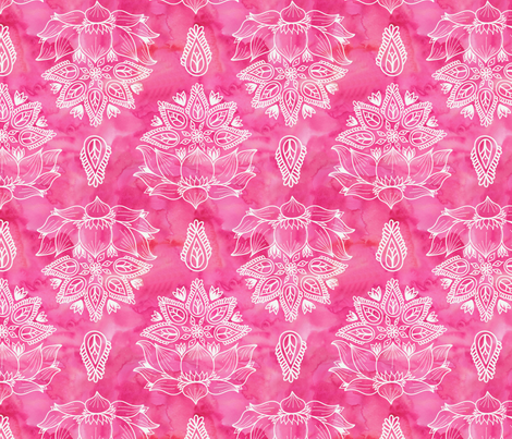 Pink_Lotus_Watercolor_Flowers fabric by zaramartina on Spoonflower - custom fabric