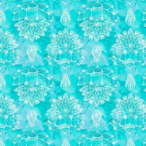 Teal_Lotus_Watercolor_Flowers