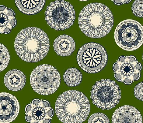 mandala cirque spot green fabric by scrummy on Spoonflower - custom fabric