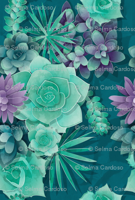 Succulent Love 1 // normal scale // green and purple succulents and cactus