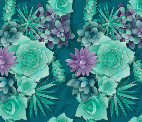 Succulent Love 1 // normal scale // green and purple succulents and cactus fabric by selmacardoso on Spoonflower - custom fabric