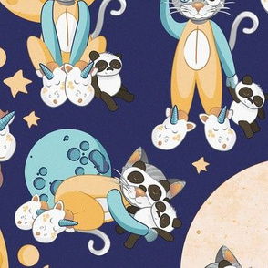 Cats, pandas and unicorns 2 // normal scale // navy background