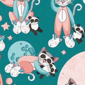 Cats, pandas and unicorns 1 // normal scale // turquoise background