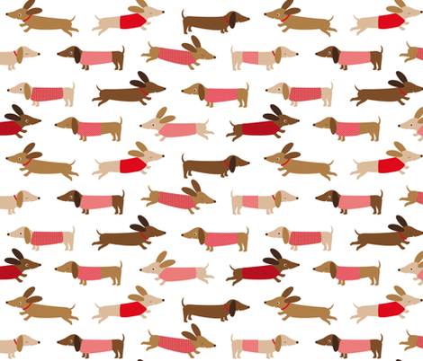 Dachshund with red fabric by heleenvanbuul on Spoonflower - custom fabric