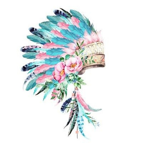 "8"" Pink &  Aqua Headdress"