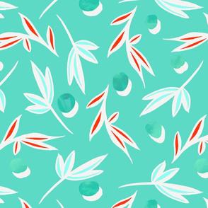 Turquoise_polka_dot_scattered_leaves