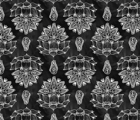 Black_Lotus_Watercolor_Flowers fabric by zaramartina on Spoonflower - custom fabric