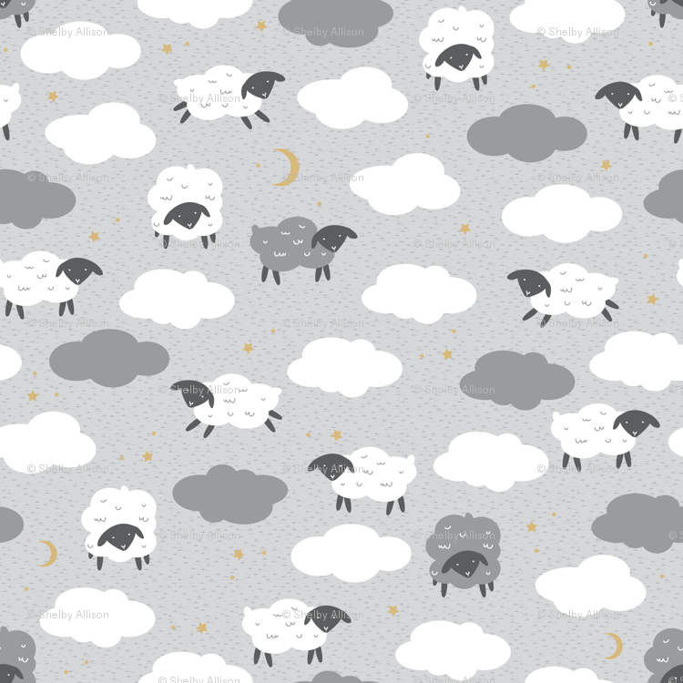 Fluffy Sheep Nursery Wallpaper