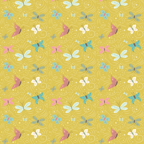 Butterfly_Frolic_Yellow_small fabric by johannaparkerdesign on Spoonflower - custom fabric