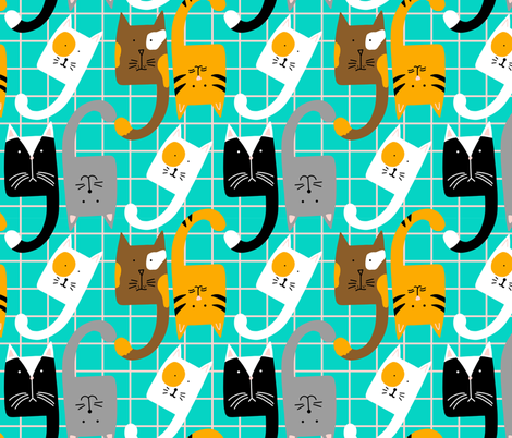 Curvy Cats fabric by kellyparkersmith on Spoonflower - custom fabric