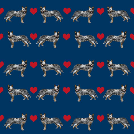 Australian Cattle Dog love hearts navy fabric by petfriendly on Spoonflower - custom fabric