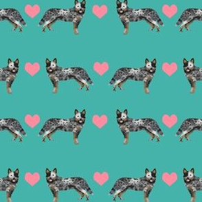Australian Cattle Dog love hearts  turquoise