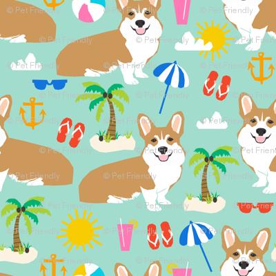 corgi beach fabric cute dogs summer tropical palm trees