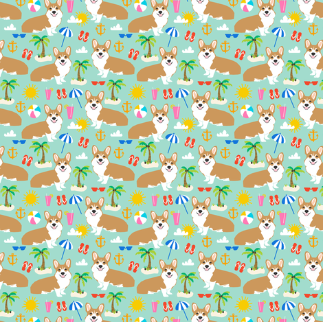 corgi beach fabric cute dogs summer tropical palm trees fabric by petfriendly on Spoonflower - custom fabric