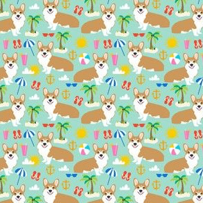 corgi beach fabric cute dogs summer tropical palm trees