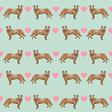 Australian Cattle Dog love hearts  red heeler light_mint fabric by petfriendly on Spoonflower - custom fabric