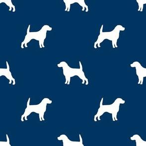 Beagle Silhouette basic dog breed fabric navy