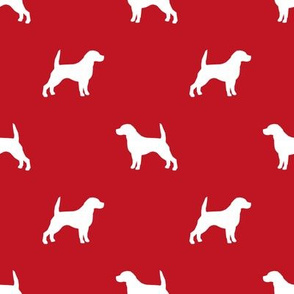 Beagle Silhouette basic dog breed fabric red