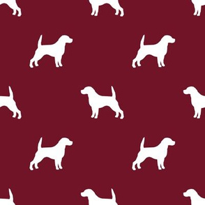 Beagle Silhouette basic dog breed fabric ruby