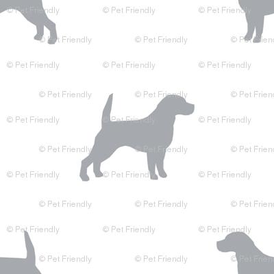 Beagle Silhouette basic dog breed fabric white grey