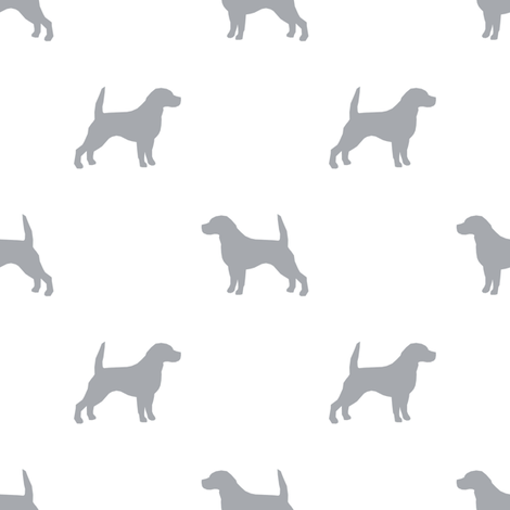 Beagle Silhouette basic dog breed fabric white grey fabric by petfriendly on Spoonflower - custom fabric