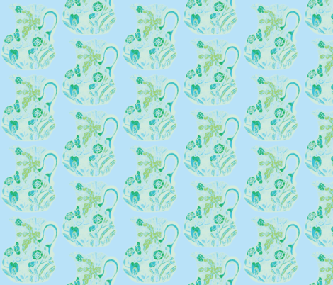Carmine Pastel Pitchers Turquoise Aqua Green Powder Blue fabric by serendipity_textiles on Spoonflower - custom fabric